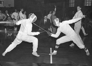 Fencing duel at the University of Wisconsin--Madison, ca. 1970. (uwdigitalcollections via Flickr cc)